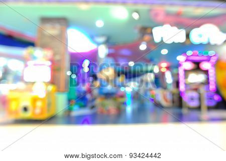 Blur Or Defocus Background Of Arcade Game Zone In Shopping Center.