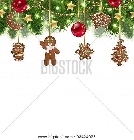 Christmas Background With Gingerbreads