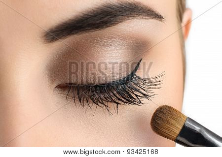 Makeup Close-up. Eyebrow Makeup, Brush.