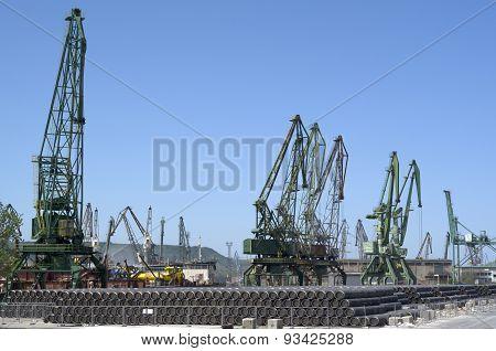 Cargo Port  Varna With Cranes , Bulgaria