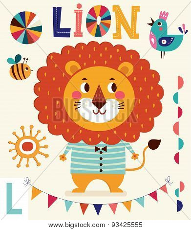 Vector Illustration In Cartoon Naive Style. Alphabet With Animals. Letter L. Lovely Cute Lion