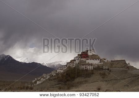 Temple On The Hill In The Background Of Moutains And Rain Clouds