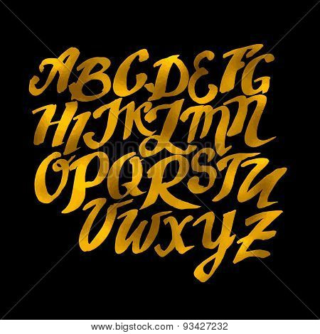 Gold Hand Drawn Alphabet Pattern. Vector Eps10 Illustration Doodle Sketch