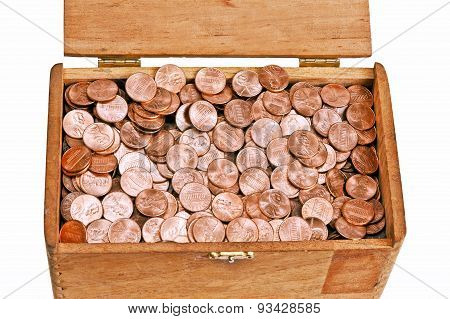 Pennies In A Vintage Wooden Box