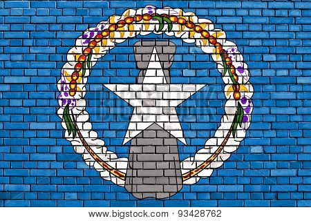 Flag Of Northern Mariana Islands Painted On Brick Wall