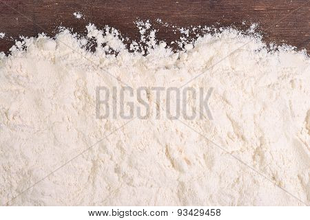 White Flour On A Wooden Background