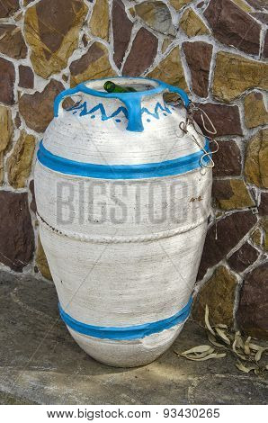 Amphora Form Dust Bin In Street, Greece