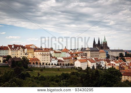 The Picture Of Prague Under The Clouds