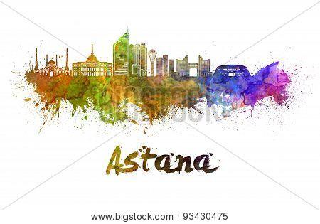 Astana Skyline In Watercolor