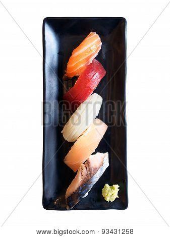 Nigiri Sushi Raw Fish Set Black Dish On Isolated Background