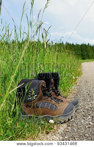 Hiking Boots Stand On The Roadside