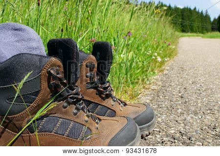 Close-up Of Hiking Boots With Stockings