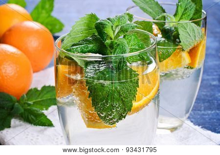 Drink With Oranges And Mint