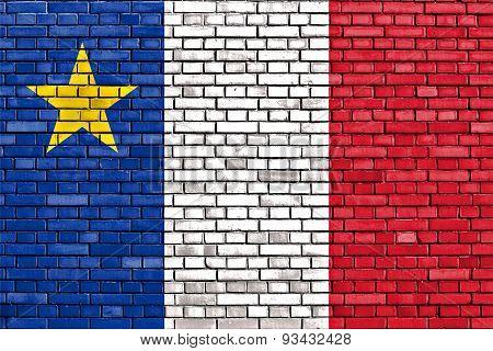 Flag Of Acadia Painted On Brick Wall