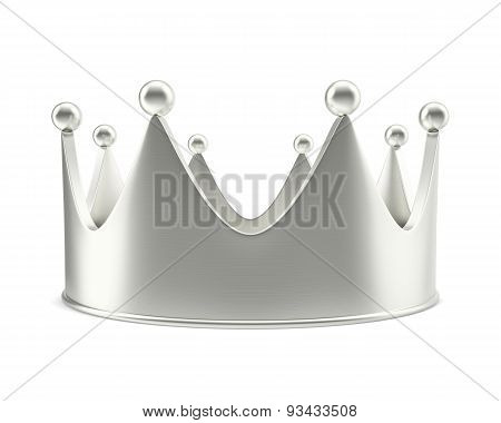 Silver Crown With Shadow Isolated On White Background.