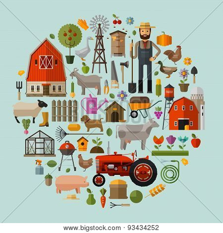 farm in the village. A set of elements - house, barn, animals, tractor, flowers, fruits and vegetabl