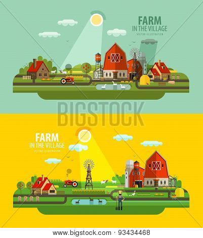 Farm in the village. Set of elements - barn, tractor, animals, building, windy mill, harvest, farmin