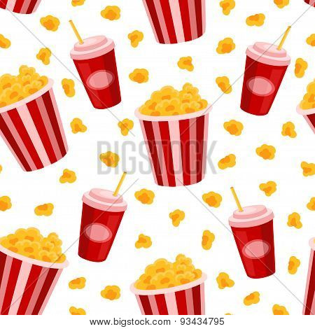 Popcorn and soda vector seamless pattern