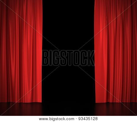 Open red silk curtains for theater and cinema spotlit light in the center.