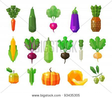 food. vegetables and fruits set icons. vector illustration