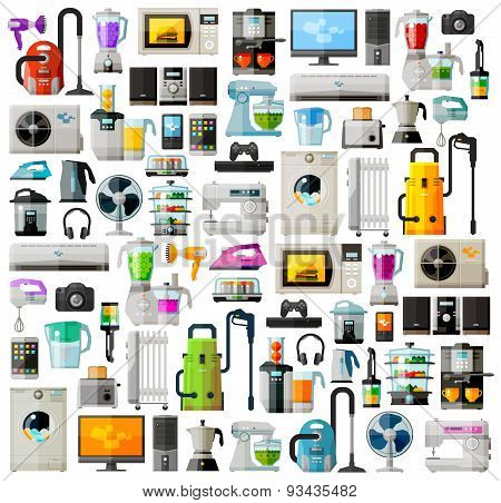 Appliances a set of colored icons. Collection of items - TV, washing machine, vacuum cleaner, comput