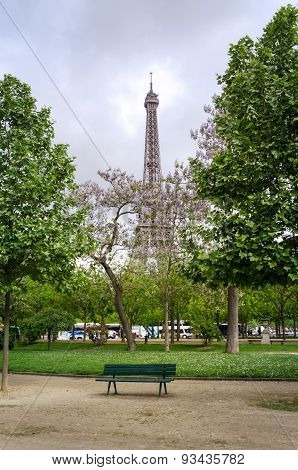 Eiffel Tower At Champ De Mars Park, Paris