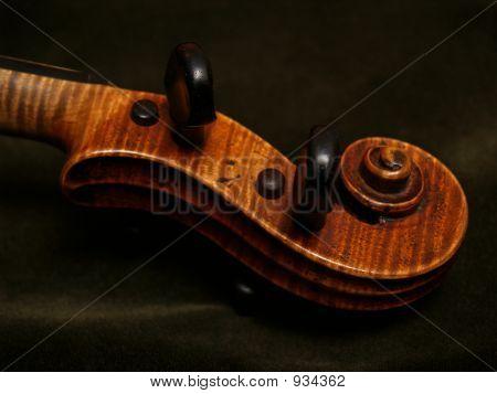 Violin Scroll Detail On Green Velvet