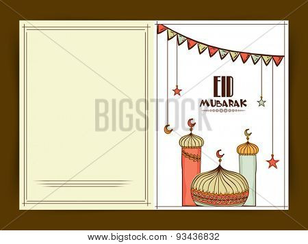 Beautiful greeting card with colorful bunting, hanging stars, moon and mosque for muslim community festival, Eid celebration.