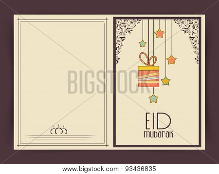Beautiful greeting card design with colorful hanging gift and stars for muslim community festival, Eid celebration.