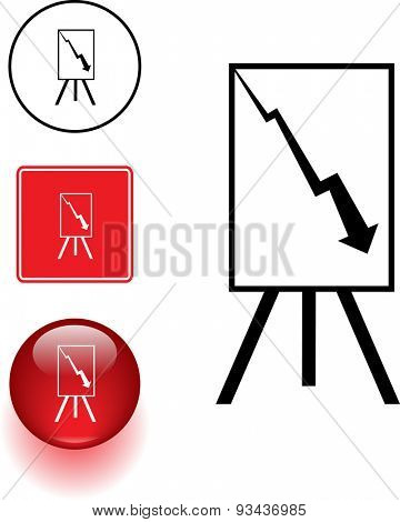 negative chart symbol sign and button