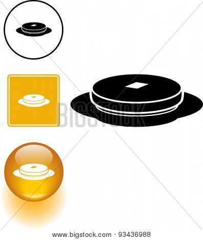 hot cake symbol sign and button
