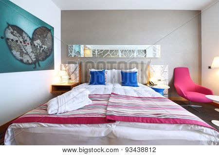 SOCHI, RUSSIA - JUL 25, 2014: Double room with one bed in the Hotel Radisson Blu Paradise Resort and Spa