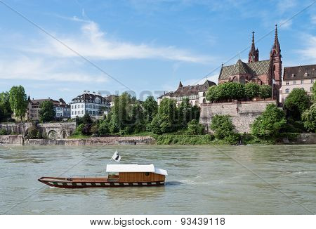 Rhine With Ferry