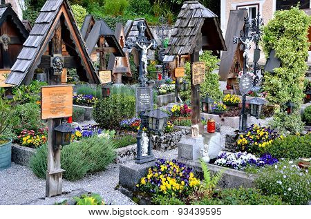 Cemetery in Hallstatt village in Alps Austria.