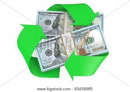 Packs Of Dollars And Recycle Symbol