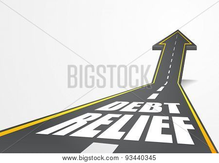 detailed illustration of a highway road going up as an arrow with Debt Relief text, eps10 vector