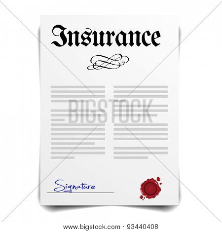 detailed illustration of an insurance letter, eps10 vector