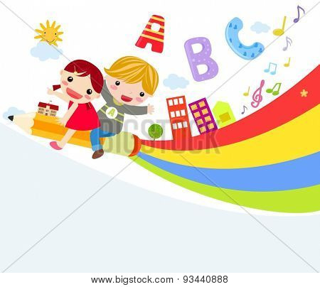 Vector illustration of cute two children riding pencil