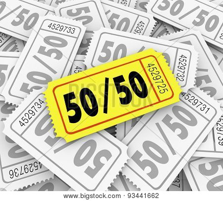 50-Fifty word and numbers on a golden raffle ticket in a pile to illustrate drawing for a fundraising or charity contest winner