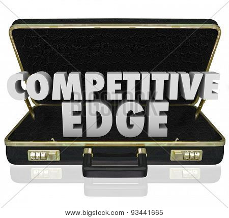 Competitive Edge 3d words in a black leather briefcase to illustrate a sales presentation or proposal with advantage over your competition
