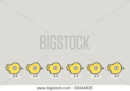 A Group Of Baby Birds And Empty Space For Texting, Vector Illustration
