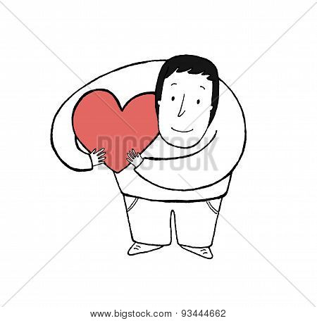 Man Hugging A Love Heart, Vector Illustration