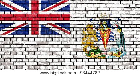 Flag Of British Antarctic Territory Painted On Brick Wall