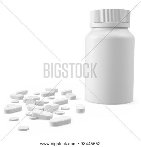 White jar with the tablets on surface.