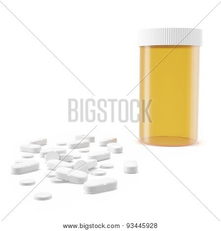 Yellow pill jar of pills on the floor.