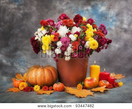 Autumn Still Life. Flowers, Candles And Pumpkin