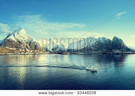 sunny day, Lofoten islands, Norway