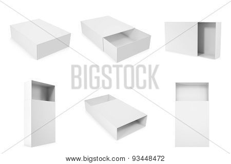 set of blank white boxes closed and opened isolated on white background with shadows.