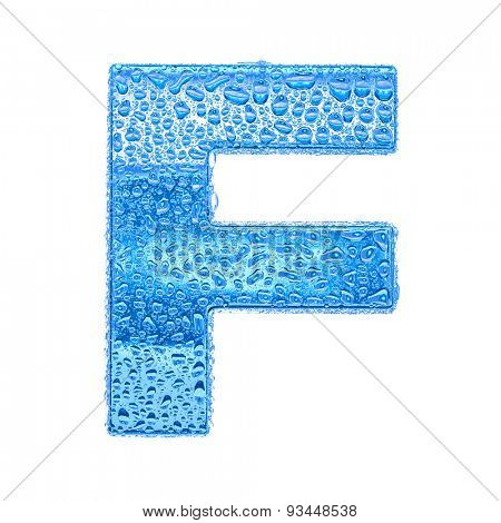 Fresh Blue alphabet symbol - letter F. Water splashes and drops on transparent glass. Isolated on white