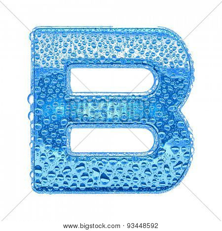 Fresh Blue alphabet symbol - letter B. Water splashes and drops on transparent glass. Isolated on white